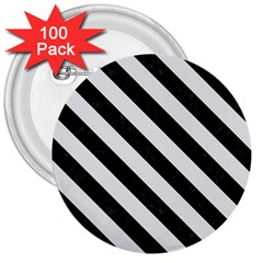 Stripes3 Black Marble & White Linen 3  Buttons (100 Pack)