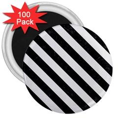 Stripes3 Black Marble & White Linen 3  Magnets (100 Pack)