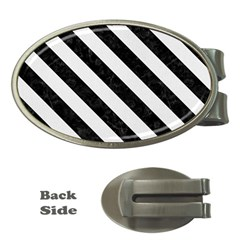 Stripes3 Black Marble & White Linen Money Clips (oval)