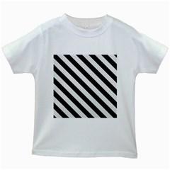 Stripes3 Black Marble & White Linen Kids White T Shirts