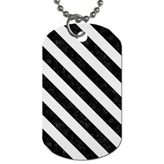 Stripes3 Black Marble & White Linen Dog Tag (one Side)