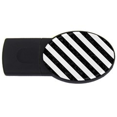 Stripes3 Black Marble & White Linen Usb Flash Drive Oval (2 Gb)