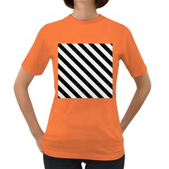 Stripes3 Black Marble & White Linen Women s Dark T Shirt