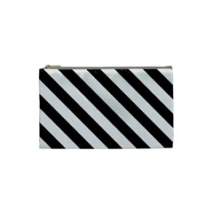 Stripes3 Black Marble & White Linen Cosmetic Bag (small)