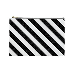 Stripes3 Black Marble & White Linen Cosmetic Bag (large)