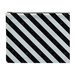 Stripes3 Black Marble & White Linen Cosmetic Bag (xl)