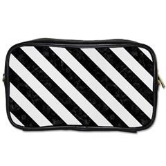 Stripes3 Black Marble & White Linen Toiletries Bags