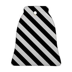 Stripes3 Black Marble & White Linen Bell Ornament (two Sides)