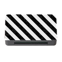 Stripes3 Black Marble & White Linen Memory Card Reader With Cf