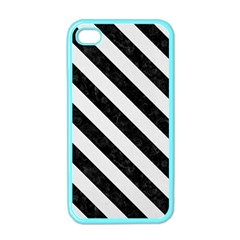 Stripes3 Black Marble & White Linen Apple Iphone 4 Case (color)