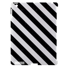 Stripes3 Black Marble & White Linen Apple Ipad 3/4 Hardshell Case (compatible With Smart Cover)