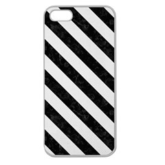 Stripes3 Black Marble & White Linen Apple Seamless Iphone 5 Case (clear)