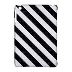 Stripes3 Black Marble & White Linen Apple Ipad Mini Hardshell Case (compatible With Smart Cover)