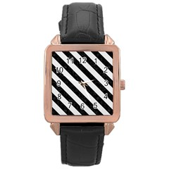 Stripes3 Black Marble & White Linen Rose Gold Leather Watch