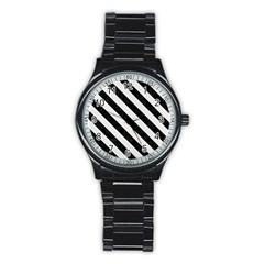 Stripes3 Black Marble & White Linen Stainless Steel Round Watch
