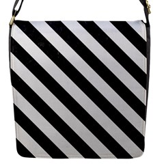 Stripes3 Black Marble & White Linen Flap Messenger Bag (s)