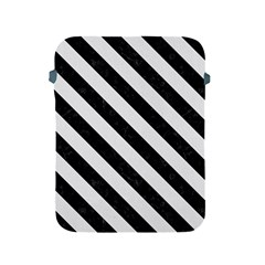Stripes3 Black Marble & White Linen Apple Ipad 2/3/4 Protective Soft Cases