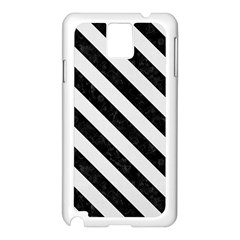 Stripes3 Black Marble & White Linen Samsung Galaxy Note 3 N9005 Case (white)