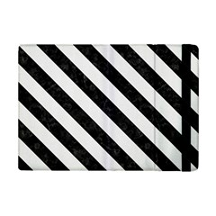 Stripes3 Black Marble & White Linen Ipad Mini 2 Flip Cases