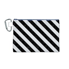Stripes3 Black Marble & White Linen Canvas Cosmetic Bag (m)