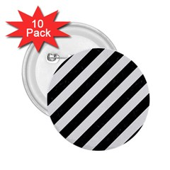 Stripes3 Black Marble & White Linen (r) 2 25  Buttons (10 Pack)