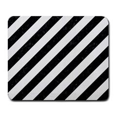 Stripes3 Black Marble & White Linen (r) Large Mousepads