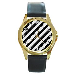 Stripes3 Black Marble & White Linen (r) Round Gold Metal Watch