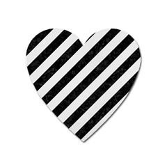 Stripes3 Black Marble & White Linen (r) Heart Magnet