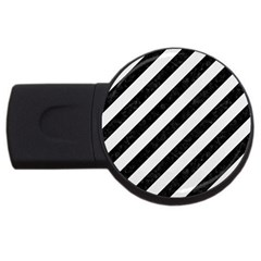 Stripes3 Black Marble & White Linen (r) Usb Flash Drive Round (2 Gb)