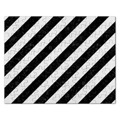 Stripes3 Black Marble & White Linen (r) Rectangular Jigsaw Puzzl