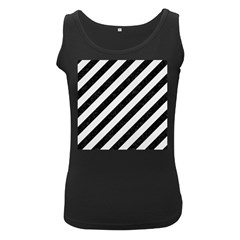 Stripes3 Black Marble & White Linen (r) Women s Black Tank Top