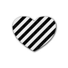 Stripes3 Black Marble & White Linen (r) Heart Coaster (4 Pack)