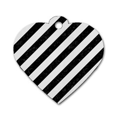 Stripes3 Black Marble & White Linen (r) Dog Tag Heart (two Sides)