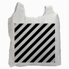 Stripes3 Black Marble & White Linen (r) Recycle Bag (two Side)