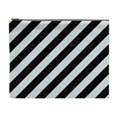Stripes3 Black Marble & White Linen (r) Cosmetic Bag (xl)
