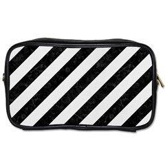 Stripes3 Black Marble & White Linen (r) Toiletries Bags