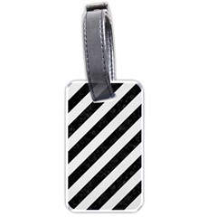 Stripes3 Black Marble & White Linen (r) Luggage Tags (one Side)