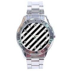 Stripes3 Black Marble & White Linen (r) Stainless Steel Analogue Watch