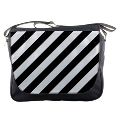 Stripes3 Black Marble & White Linen (r) Messenger Bags