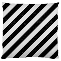 Stripes3 Black Marble & White Linen (r) Large Cushion Case (one Side)