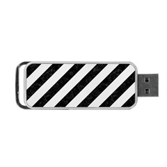 Stripes3 Black Marble & White Linen (r) Portable Usb Flash (two Sides)