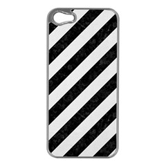 Stripes3 Black Marble & White Linen (r) Apple Iphone 5 Case (silver)