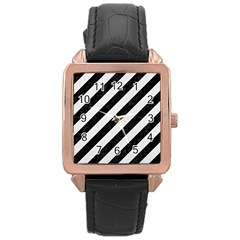 Stripes3 Black Marble & White Linen (r) Rose Gold Leather Watch