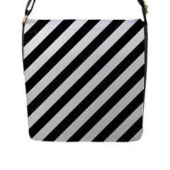 Stripes3 Black Marble & White Linen (r) Flap Messenger Bag (l)