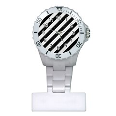 Stripes3 Black Marble & White Linen (r) Plastic Nurses Watch