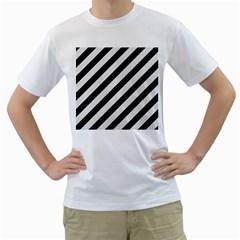 Stripes3 Black Marble & White Linen (r) Men s T Shirt (white)