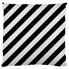 Stripes3 Black Marble & White Linen (r) Large Flano Cushion Case (two Sides)