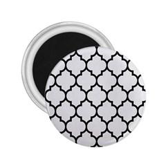 Tile1 Black Marble & White Linen 2 25  Magnets