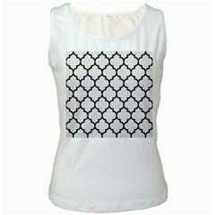 Tile1 Black Marble & White Linen Women s White Tank Top
