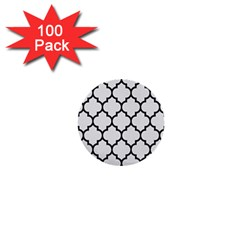 Tile1 Black Marble & White Linen 1  Mini Buttons (100 Pack)